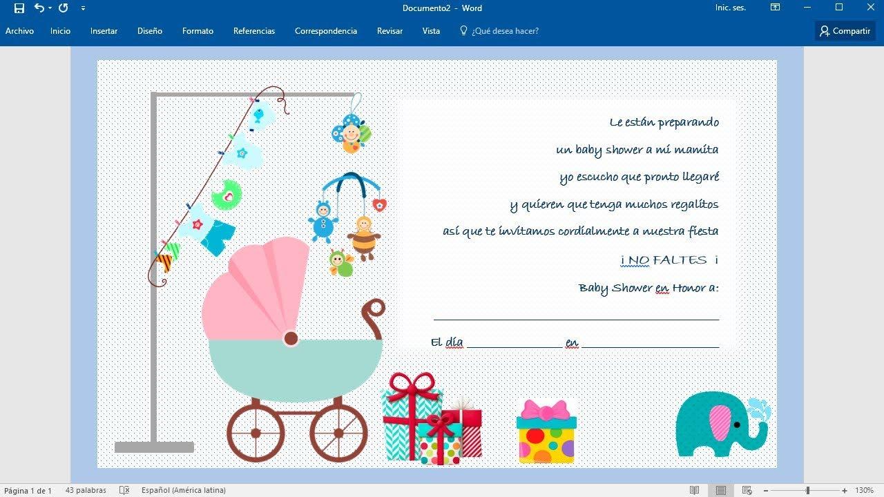Cómo Hacer Una Invitación Para Baby Shower En Word