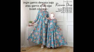 Model baju gamis couple ibu dan anak bahan katun jepang
