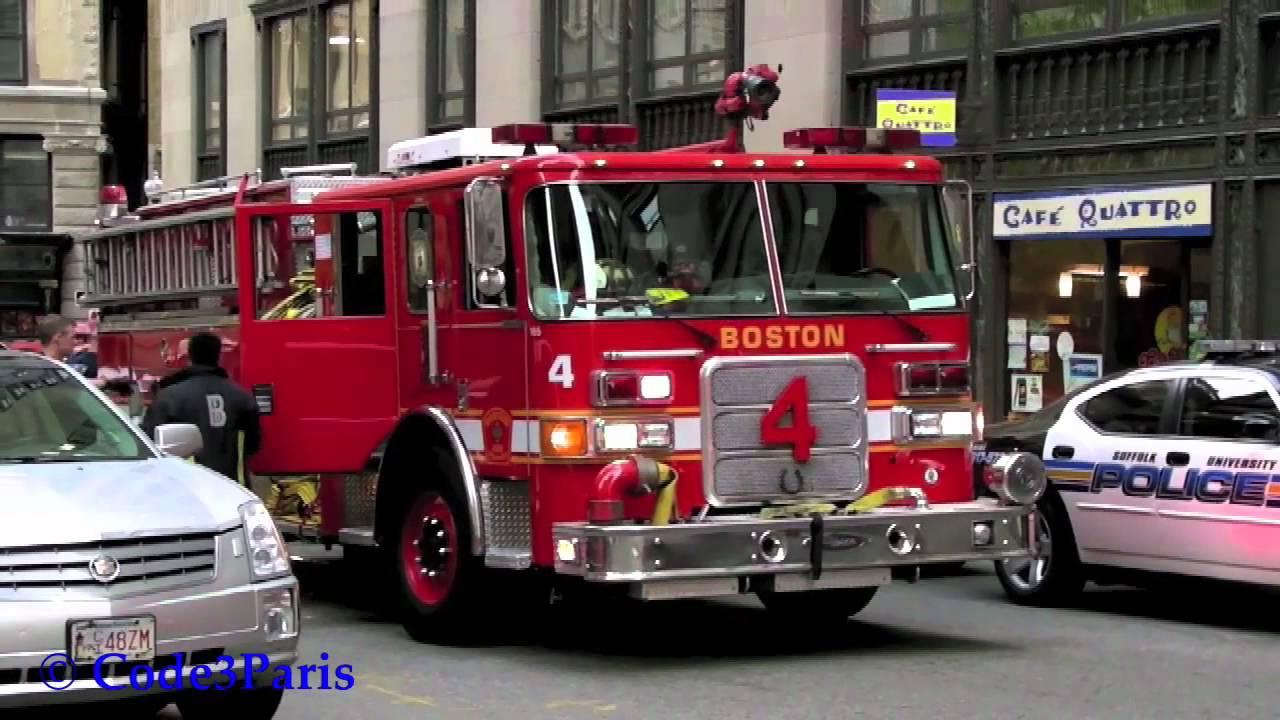 Boston Fire Department Engine 4 Responding to Suffolk ...