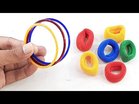 amazing creative idea Out of Old bangles & Hair rubber bands | DIY art and craft | DIY HOME DECO