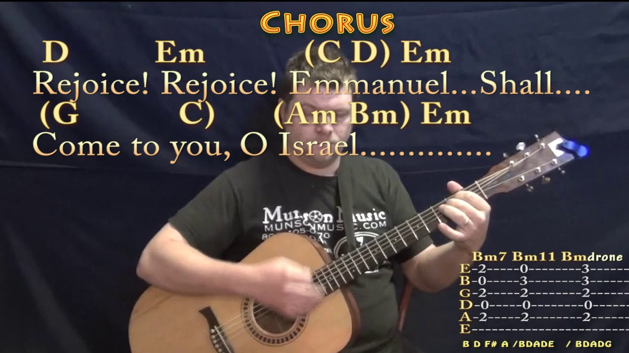 O Come O Come Emmanuel Christmas Guitar Lesson Chord Chart In Em