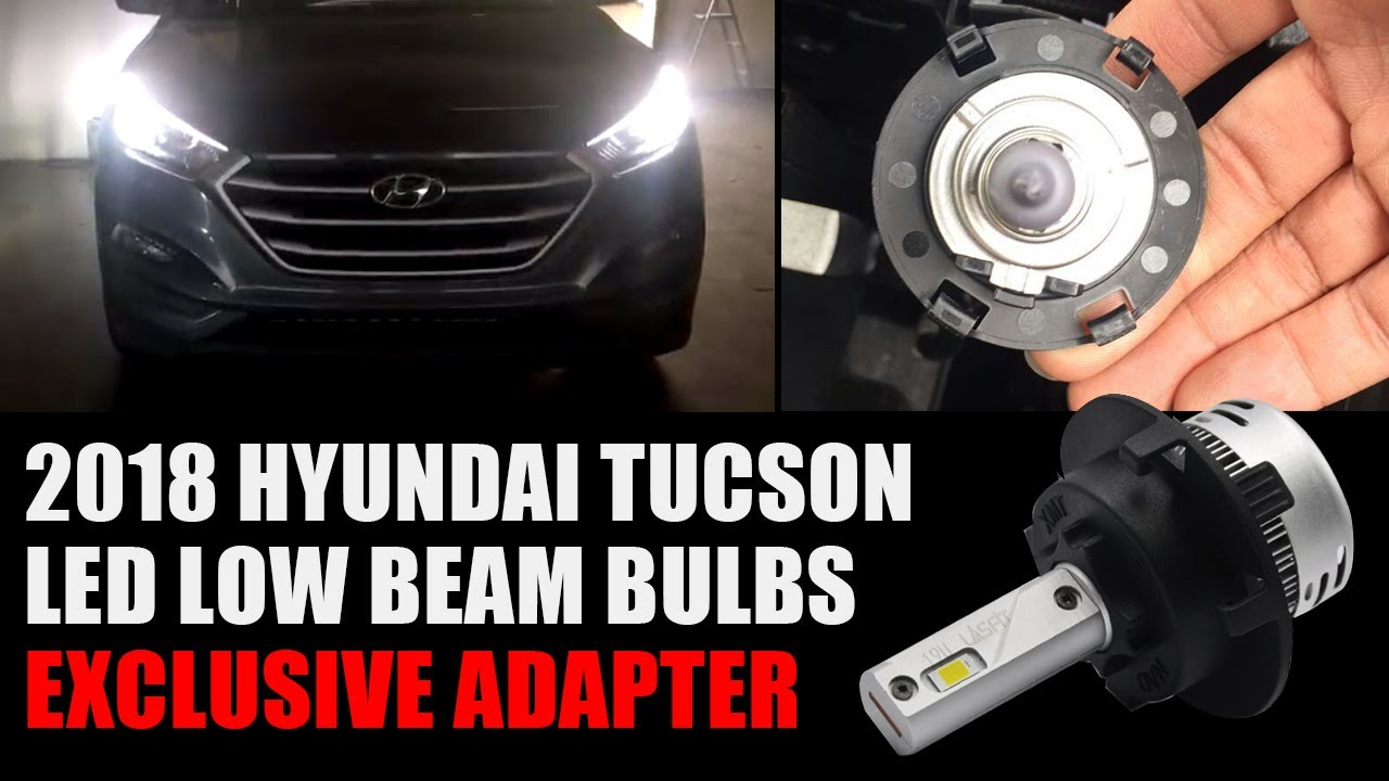 2018 Hyundai Tucson OEM Halogen Bulb TO H7 LED Bulb Conversion W/ Custom  Adapter