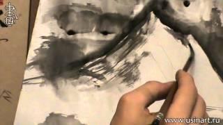 Уроки по пейзажной живописи у-син. Урок 11 Лунная ночь в горах