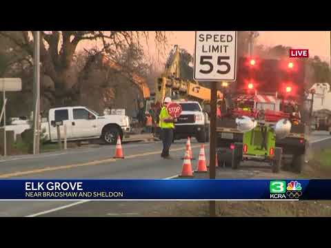 Temporary road closure in Elk Grove at busy intersection