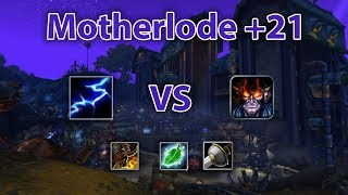 [8.2.5] M+ Elemental Shaman vs Demonology Warlock | Motherlode 21 [ft. Sjeletyven]