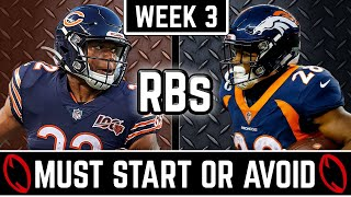 Must Start and Avoid - Running Back - 2019 Fantasy Football (Week 3)