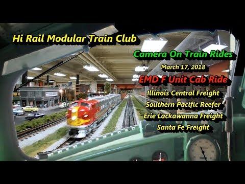 Model Train Cab Ride EMD F Unit- Illinois Central, Santa Fe, Lackawanna, Southern Pacific