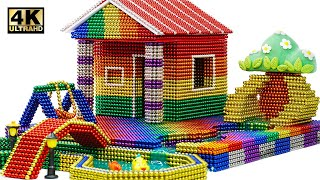 DIY - How To Build Hut House and Fish Pond From Magnetic Balls (Satisfying) | Magnet World 4K