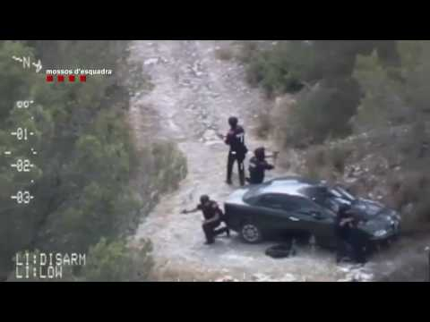 La detención del pistolero de Gavà, grabada por un helicóptero de los Mossos