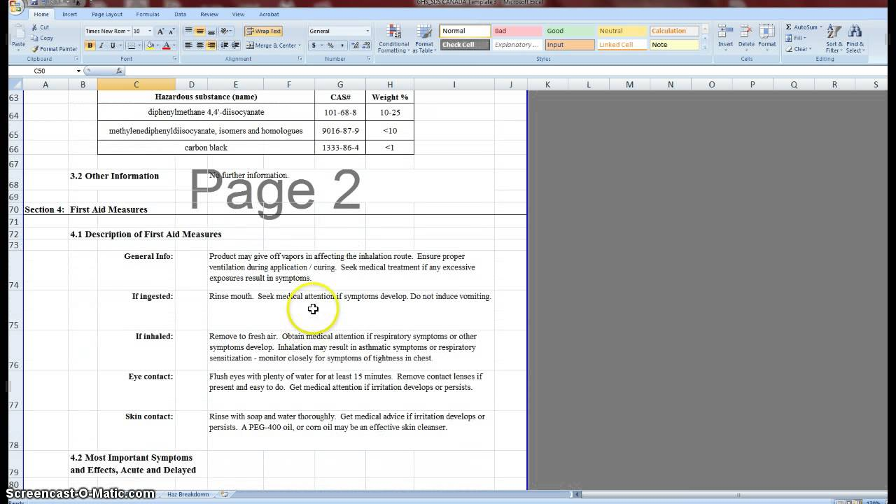 WHMIS 2015 SDS (MSDS) Template, GHS - English and French - YouTube