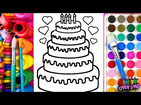 Thumbnail: Learn Coloring for Kids and Color Five-Layer Birthday Cake Coloring Pages 💜