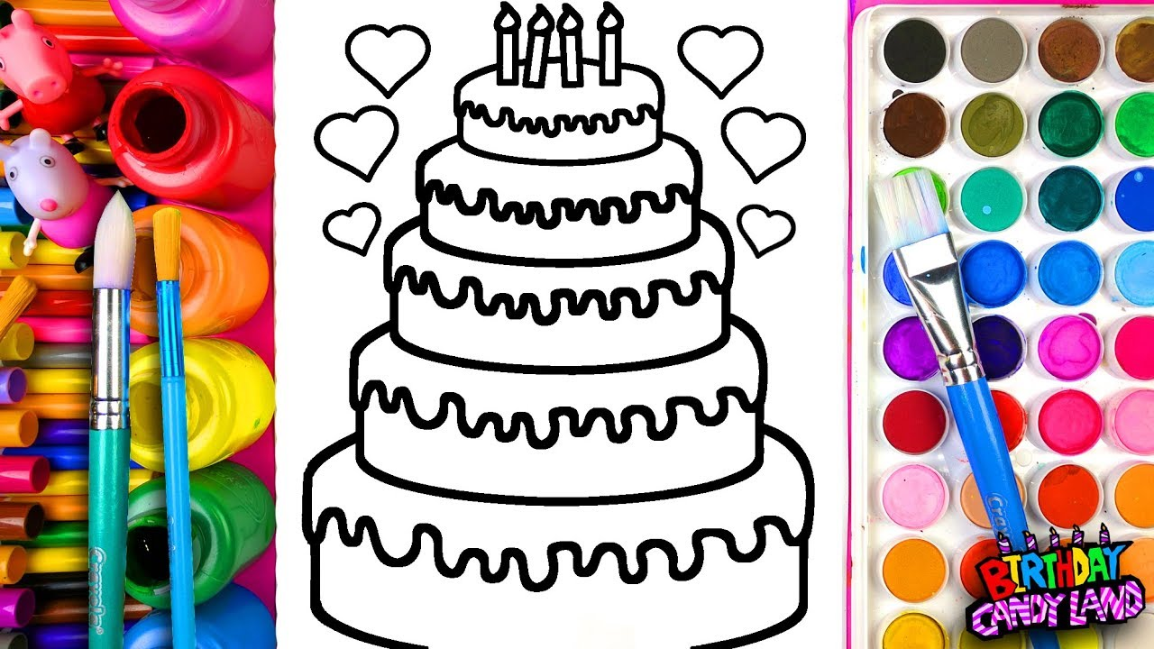 Colouring in birthday cake - Learn Coloring For Kids And Color Five Layer Birthday Cake Coloring Pages