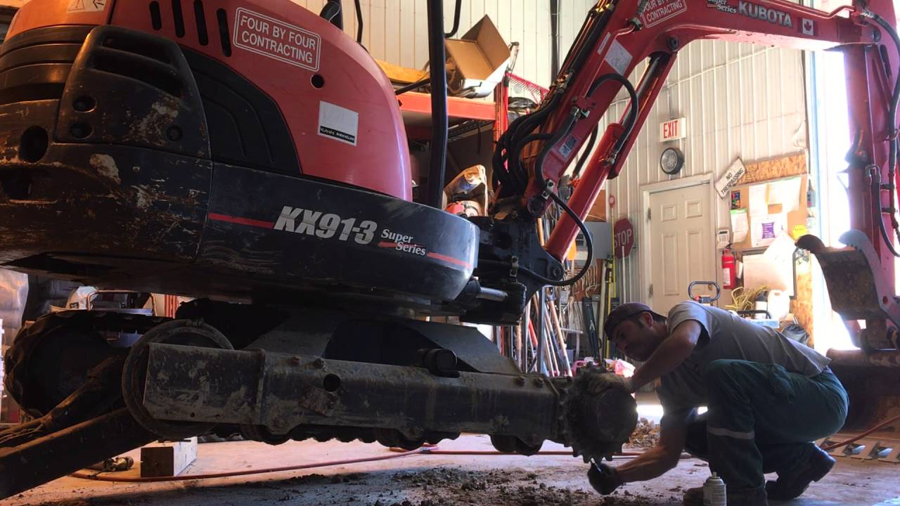 How To Change Rubber Tracks On A Kubota Excavator Youtube Kx1613 Wiring Diagram
