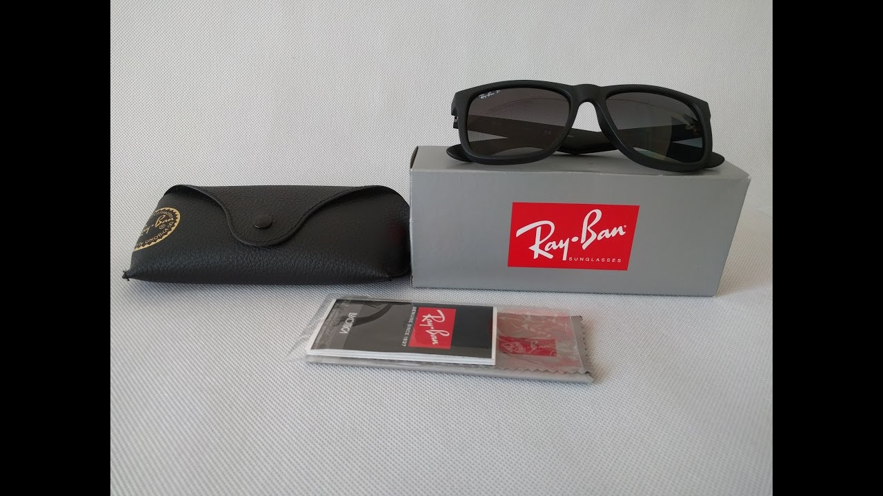 Ray-ban justin 4165 Unboxing with 54 mm Grey Gradient Polarized ... 640619dbdbab