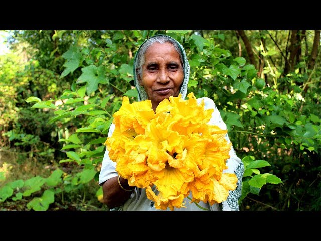 Primitive way frying Pumpkin flower by our Grandmother | Healthy & Natural Village Food
