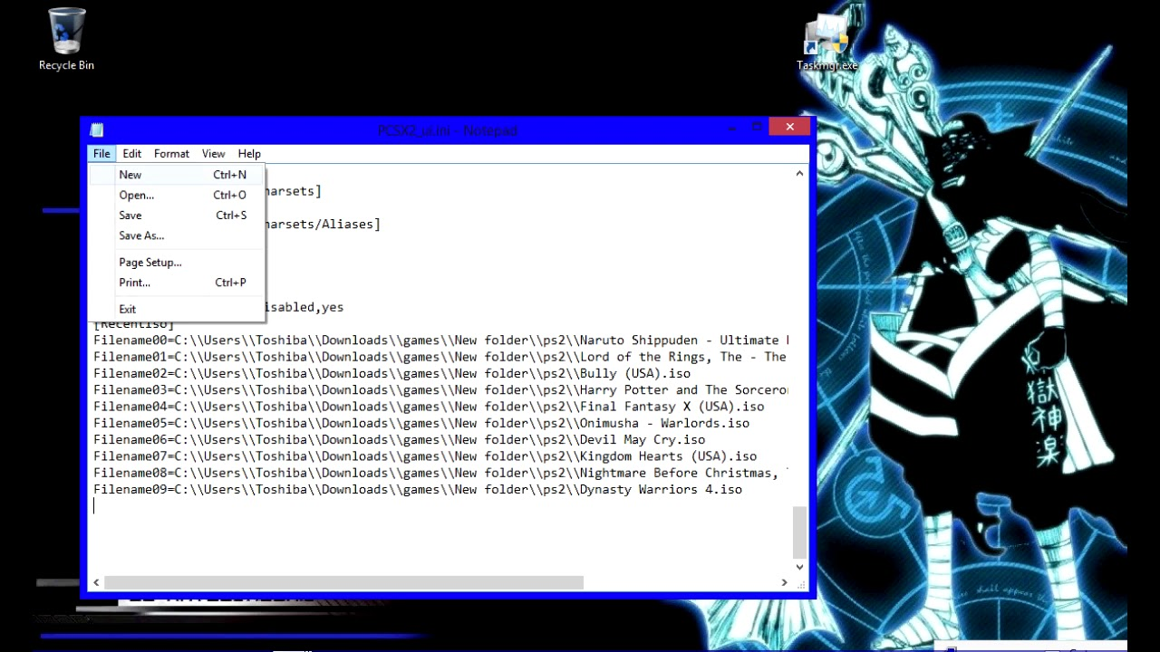 how to clear iso selector list pcsx2