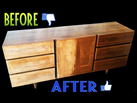 Tutorial - How to strip a Mid Century Modern Dresser of its old finish & how to refinish