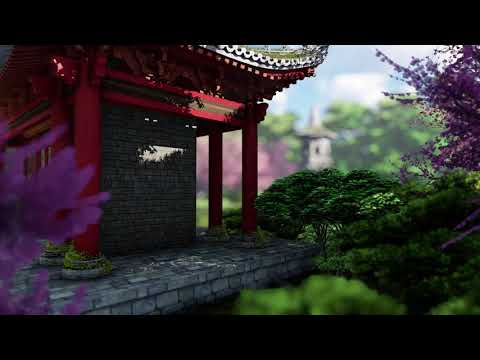 ( CGI 4k Stock Footage ) Japansese asian buddhist architecture temple zen garden 2