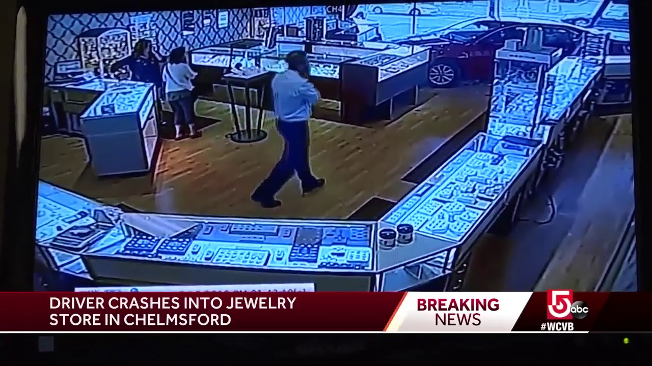 sedan crashes into jewelry store in chelmsford youtube