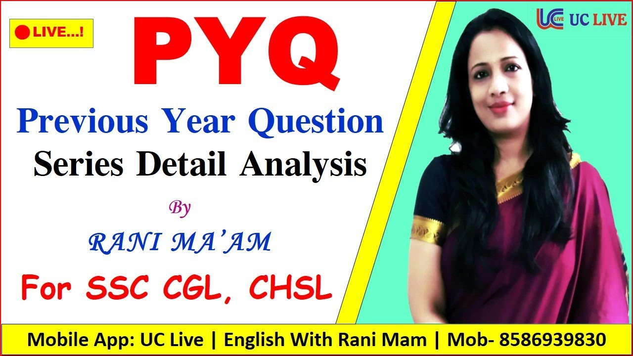 🔴 Live! PYQ | SSC CGL and CHSL Previous Year Question Detail Analysis By Rani Mam For SSC CGL & CHSL