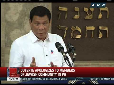 Duterte says sorry; ex-wife has Jewish roots