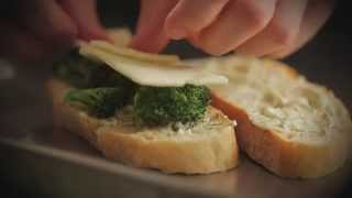 Ciabatta Grilled Cheese -- Parmesan Crusted With Charred Broccoli Baby Swiss And Lemon Dill Aioli
