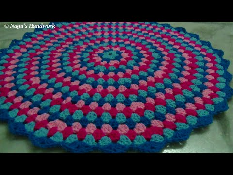 How to crochet a round granny rug part 1 of 3-Learn to crochet in Tamil By Nagu's Handwork