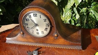 Antique Westminster & Whittington Strike Mantle Mantel Clock With Key See Video