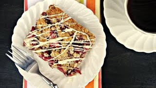 Strawberry Streusel Bars with White Chocolate Drizzle