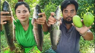 cooking three big fish with mango  -  eating  delicious