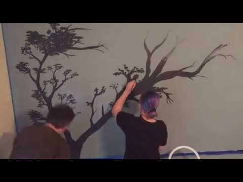 Tree Wall Mural Speed Painting For Bedroom