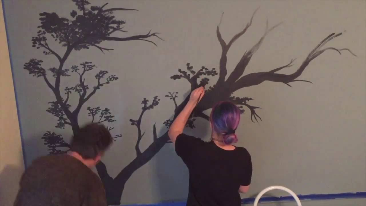 Tree Wall Mural Speed Painting For Bedroom   YouTube Part 35