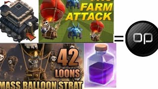 Clash of Clans: Townhall 9 Mass balloons| Farming& 3star attack strategy| Mass Balloons= OP!!