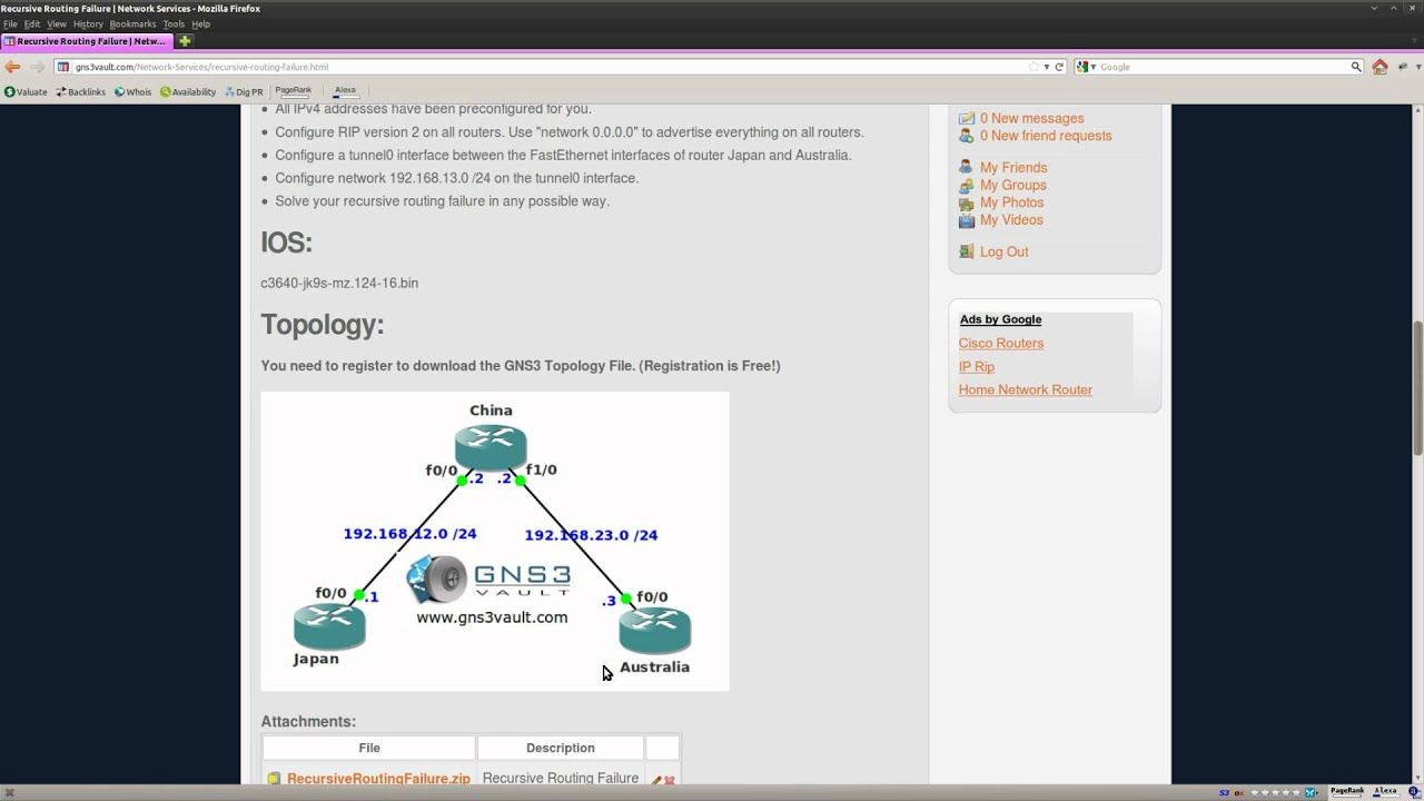 Recursive Routing Failure lab in GNS3