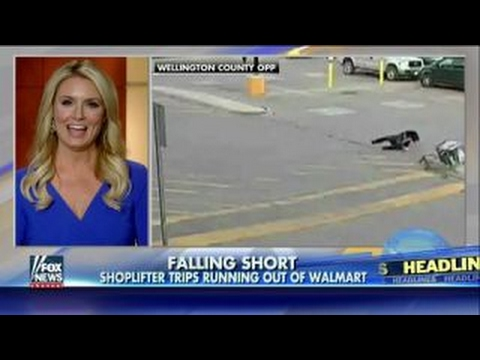 Shoplifter trips, faceplants, running out of Walmart