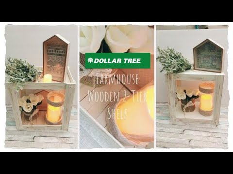 🍋DIY Farmhouse Decor and Organizer |Dollar Tree 2-Tier Wooden Shelf
