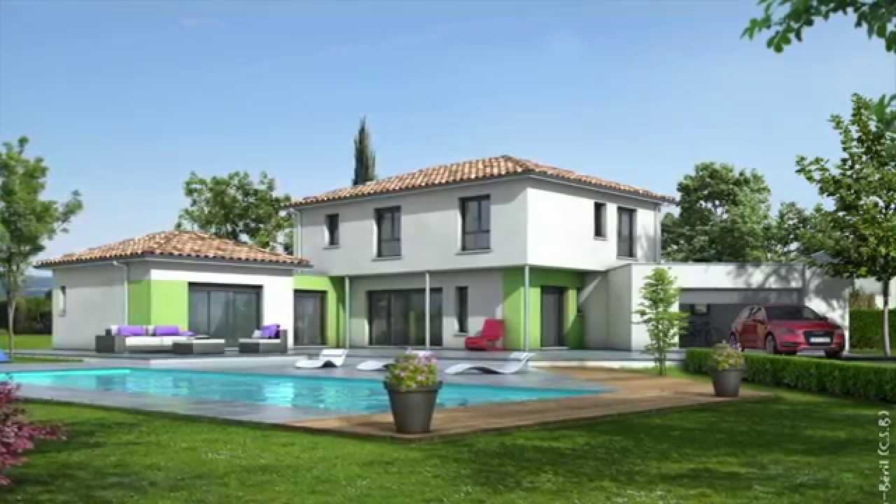 Plan maison contemporaine maisons clair logis youtube for Photo maison moderne