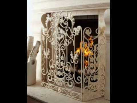 French Country White Iron Fireplace Screen ; ornate fireplace ...