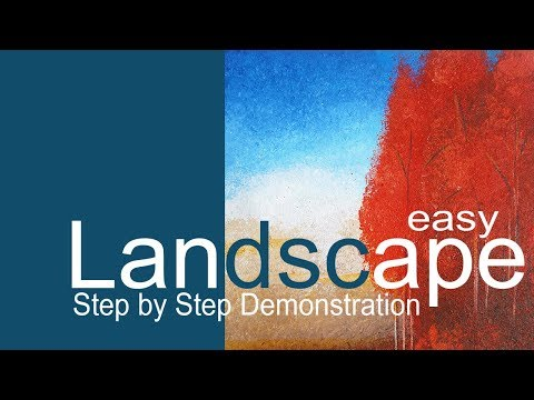 EASY LANDSCAPE II  #acrylicpainting  II  #abstractart  II  Step by step Demonstration