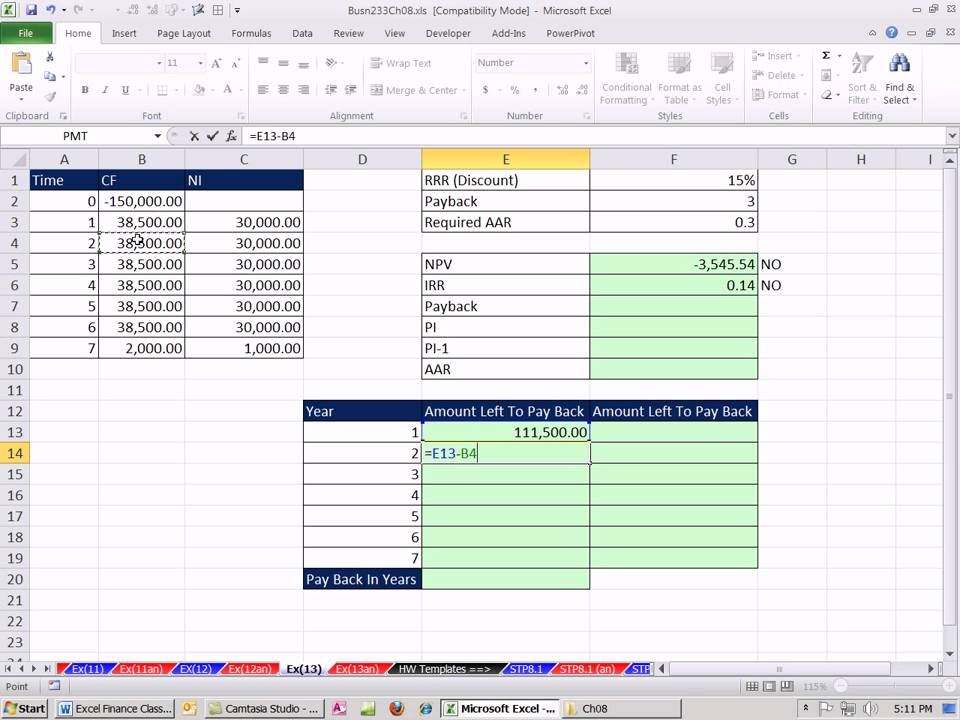 Excel Finance Class 79 Investment Criteria Npv Irr Payback Aar