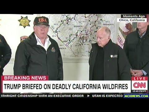 President Trump Answers Question At California Fire Command Center