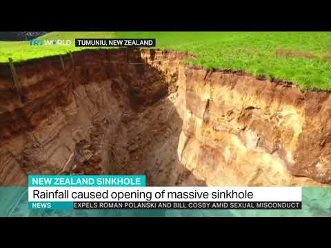 New Zealand rainfall causes opening of massive sinkhole