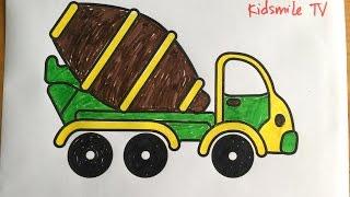 To màu cho bé xe trộn bê tông - Coloring Pages For concrete mixer trucks
