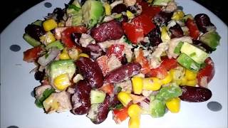 Мексиканский салат с фасолью и кукурузой. Новогодние салаты. Рецепты салатов