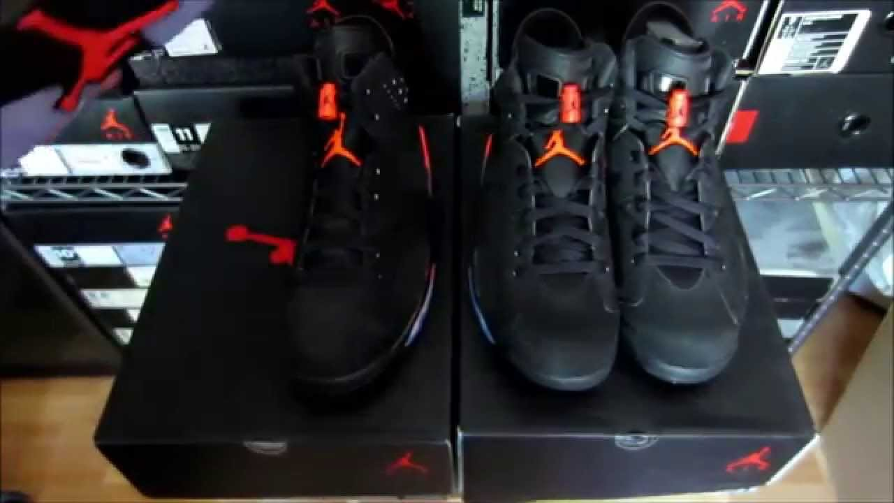 469017d246611c Jordan 6 Black Infrared Authentic Vs. Fake - YouTube
