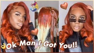 Ginger Color Hair Tutorial!🍑@Andre Cavasier Stylist Dyed 613 Blonde Lace Front Wig!#ULAHAIR