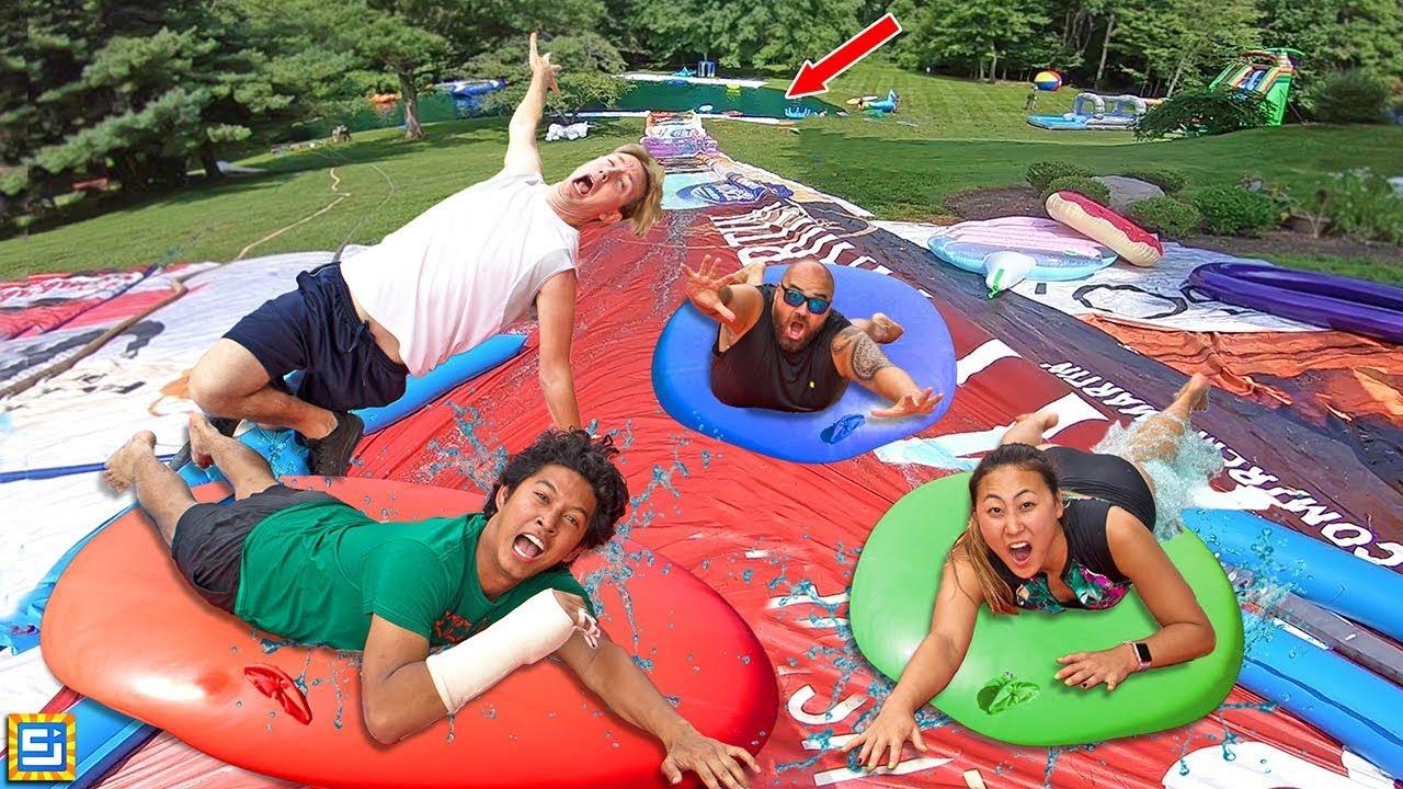 World's Biggest Giant 8ft Water Balloon Waterslide Challenge!!