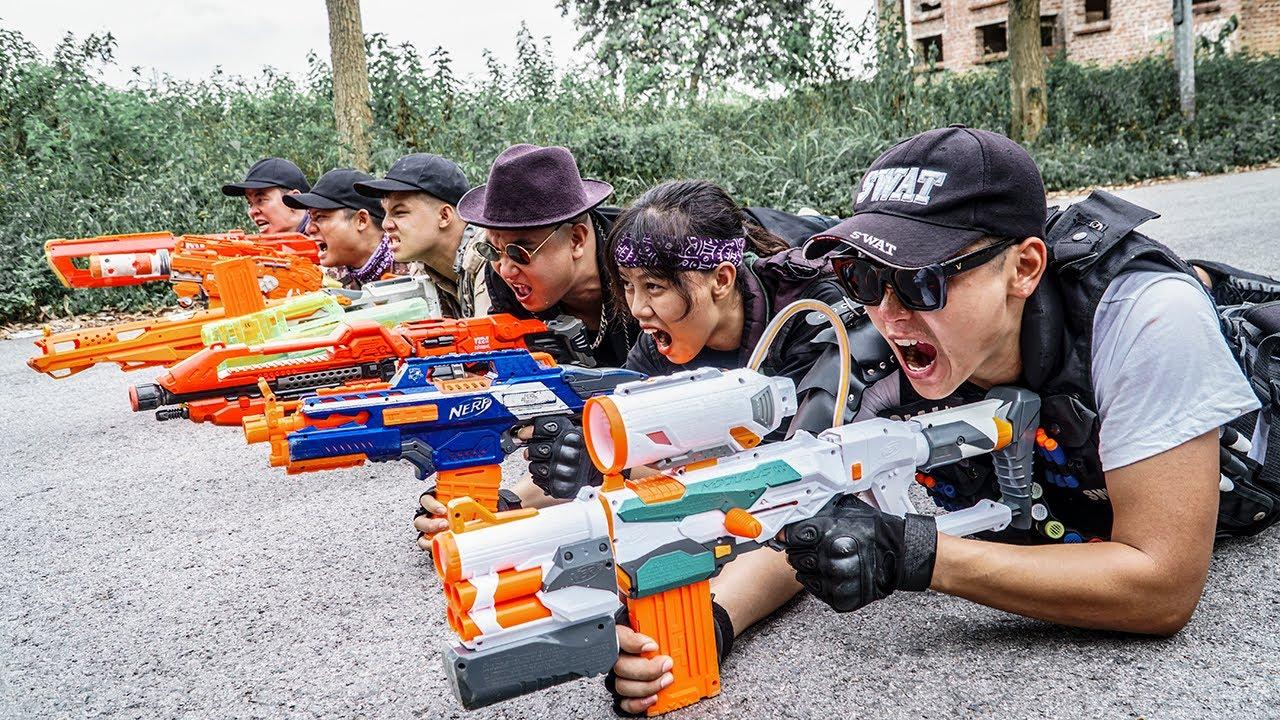 LTT Game Nerf War : Patrol Police Duo Warriors SEAL X Nerf Guns Fight Braum Crazy Red Bag Thief