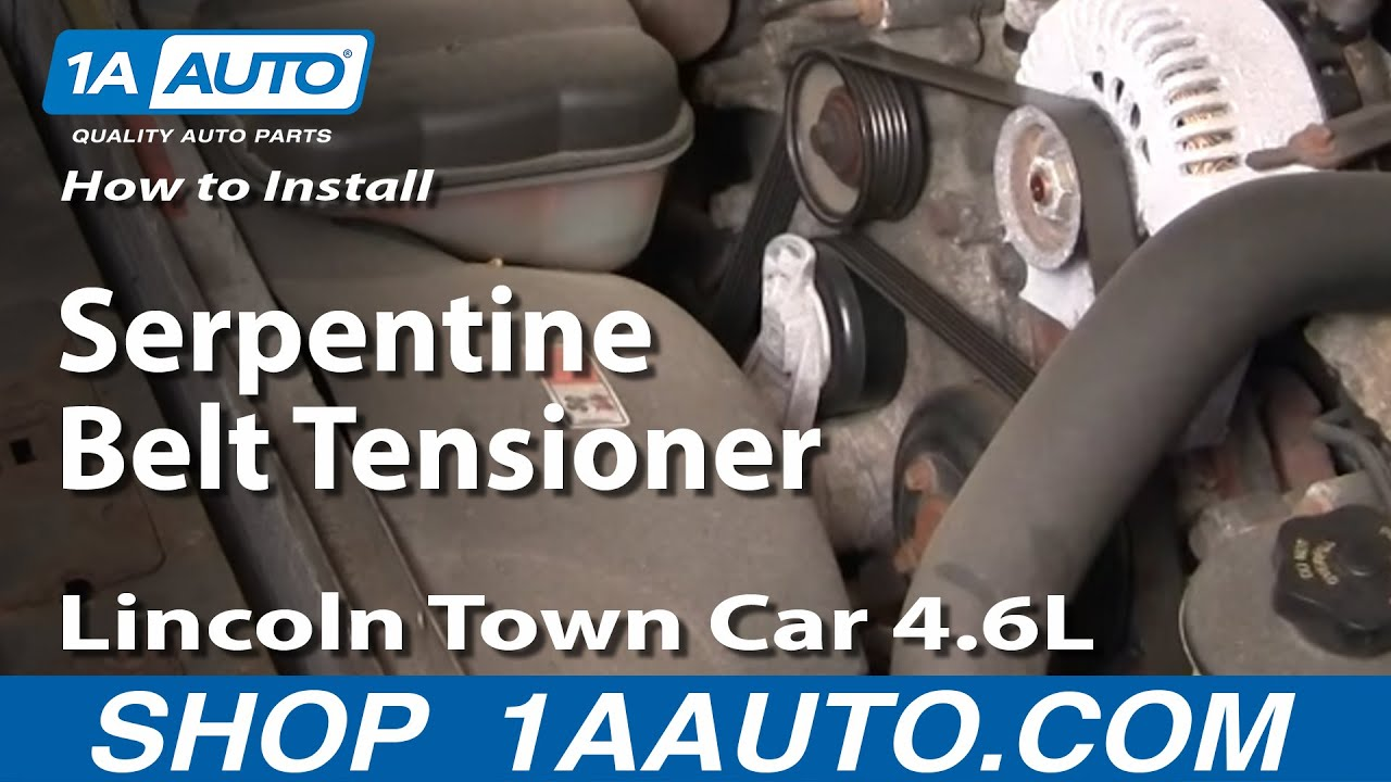 how to install repair replace serpentine belt tensioner lincoln town car 4 6l. Black Bedroom Furniture Sets. Home Design Ideas