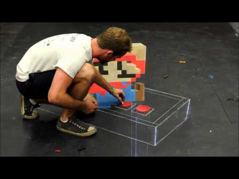 Super Mario - 3D Chalk Art (Time Lapse)